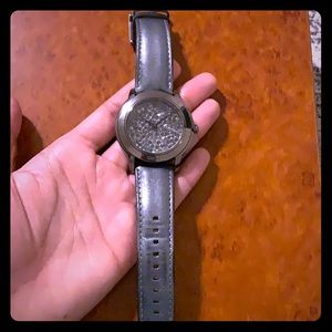 DKNY watch with gray/silver leather band